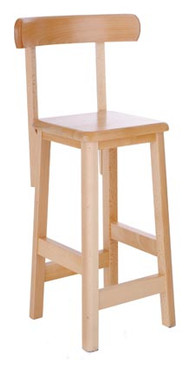 Beech Lab Stool with Backrest