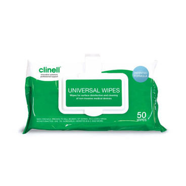 Clinell Universal Wipe Clip Pack, x 50 Wipes