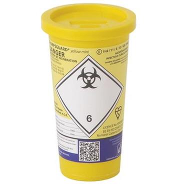 Buy Daniels Sharps Bin, 0.6 Litres, Yellow Lid, Each (DNDD478YL) sold by eSuppliesMedical.co.uk