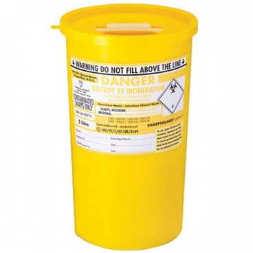Buy Daniels Sharps Bin, 5.0 Litres, Yellow Lid, Each (DNDD471YL) sold by eSuppliesMedical.co.uk