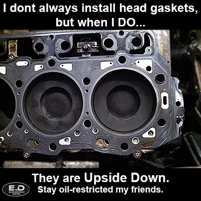 Engineered Diesel meme Upside Down head gasket