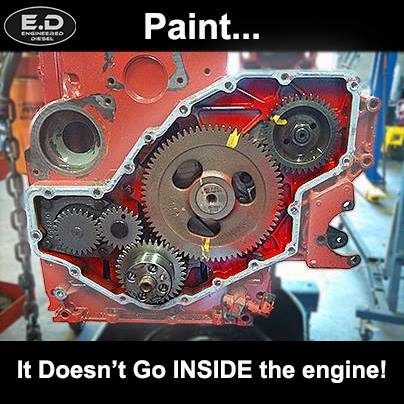 Engineered diesel meme Paint inside engine