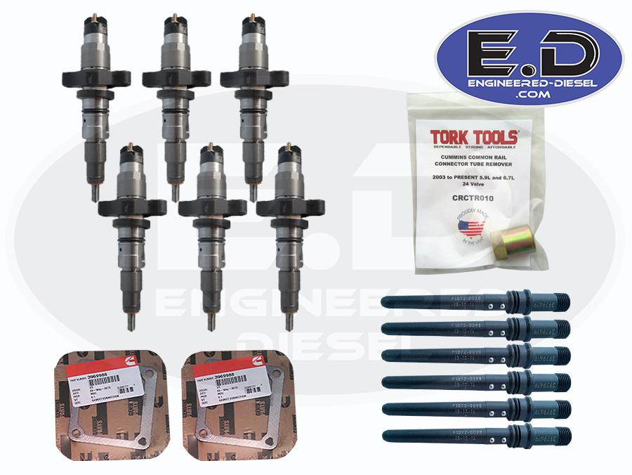 Complete Injector Service Kit - TorqueMaster Injector SET & OEM Install Kit  - 5 9L Cummins 2004 5 - 2007