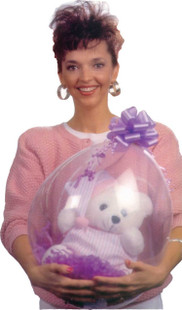 18 inch Qualatex stuffing balloon clear with a teddy bear