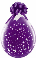 """Qualatex 18"""" Stuffing Balloon, CLEAR with STARS A ROUND"""