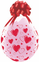"""Qualatex 18"""" Stuffing Balloon, RED HEARTS A-ROUND"""