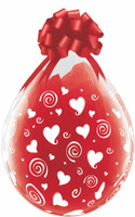 "Qualatex 18"" Stuffing Balloon, SWIRLING HEARTS A-ROUND"