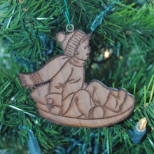 Sledder Boy on Saucer -  Laser Engraved and cut from Cherry.
