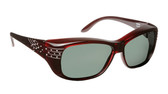 Haven Designer Fitover Sunglasses Victoria in Wine Crystal & Polarized Grey Lens (LARGE)