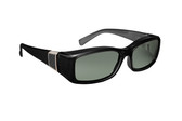 Haven Designer Fitover Sunglasses Freesia in Black with Grey Leather & Polarized Grey Lens (MEDIUM)