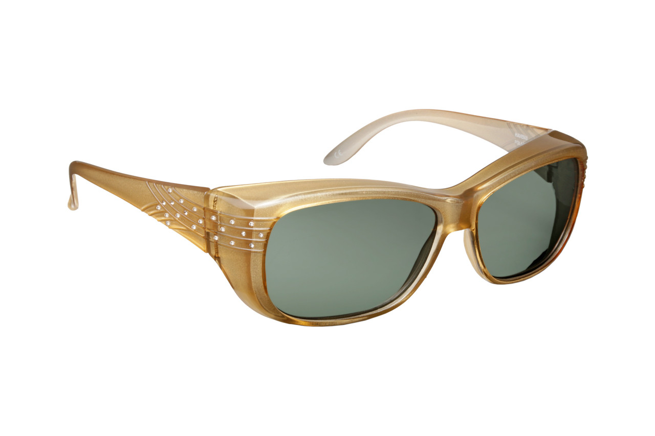 fc603585fd Haven Designer Fitover Sunglasses Morgan in Champagne Crystal   Polarized  Grey Lens (MEDIUM LARGE). Image 1
