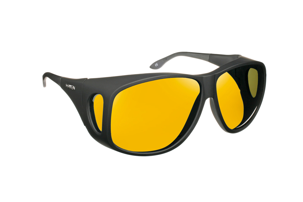 cd39b72e88b Haven Designer Fitover Sunglasses Banyan in Black   Polarized Yellow Lens  (XL)