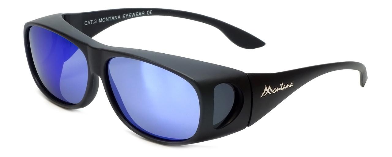 f427c0f1e5 Montana Designer Fitover Sunglasses F02H in Matte Black   Polarized Blue  Mirror Lens. Image 1. Loading zoom