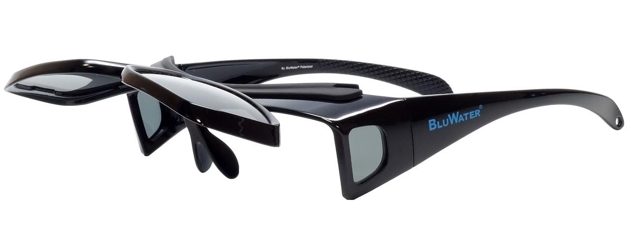 37eadb0cdab64 BluWater Polarized Flip-It-GR Fitover Sunglasses in Black. Image 1. Loading  zoom