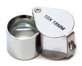 Aluminum Silver Jeweler's Loupe 10x 18mm MJ381018C