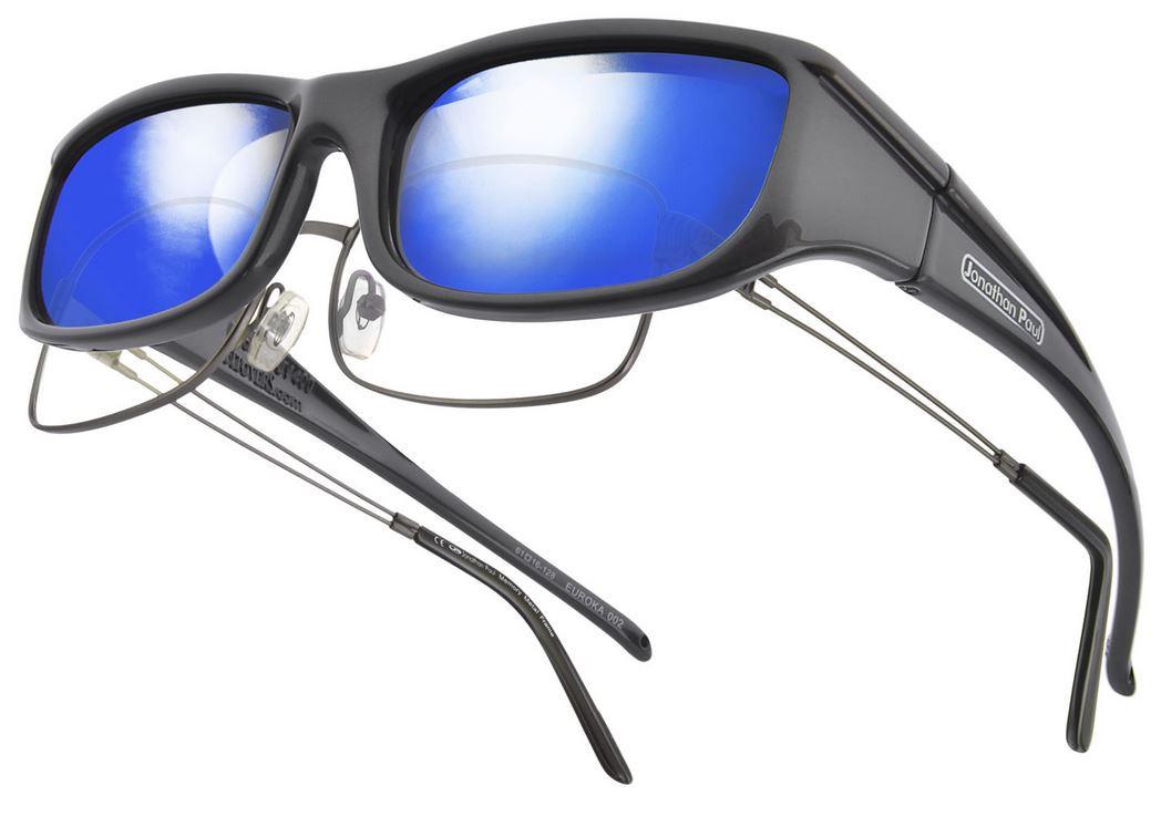 a873896dc06e Jonathan Paul® Fitovers Eyewear Small Euroka in Gun-Metal   Blue Mirror  EU002BM