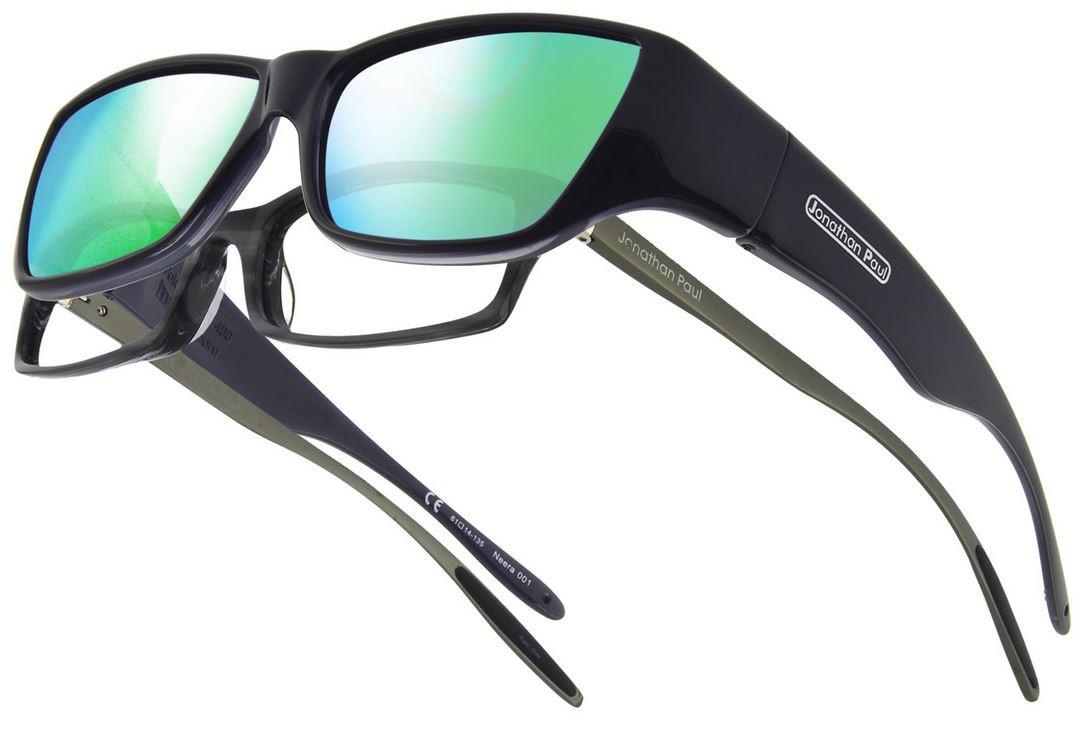 b34e669e83 Jonathan Paul® Fitovers Eyewear Large Neera in Midnite Oil   Green Mirror  NR001GM. Image 1. Loading zoom