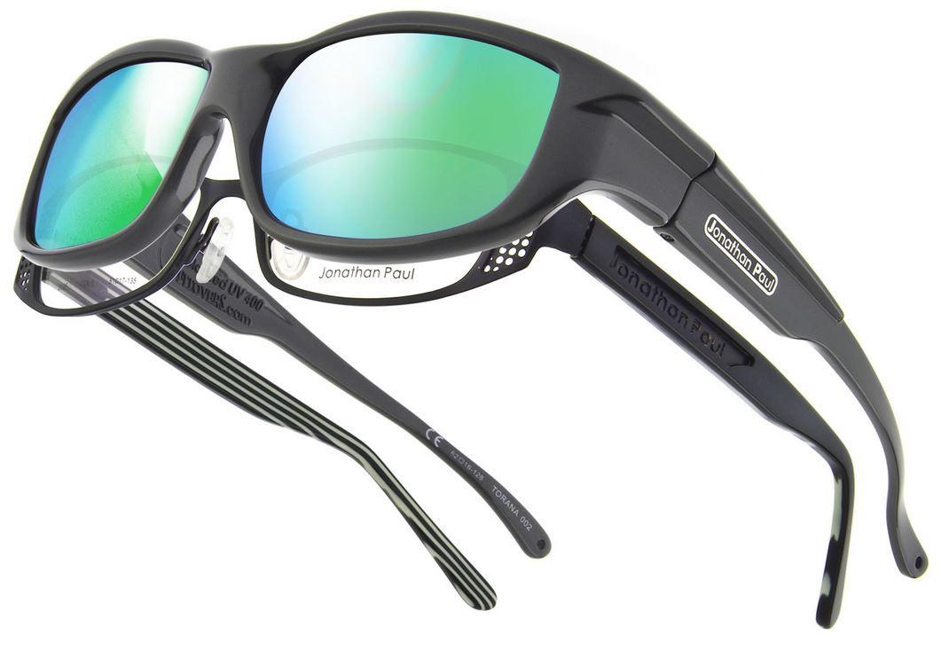 5a484bde26 Jonathan Paul® Fitovers Eyewear Large Torana in Dark-Charcoal   Green Mirror  TR002GM