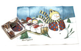 Holiday Christmas Theme Cleaning Cloth Snowmen on Sled
