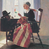 """Norman Rockwell Famous Artwork Cleaning Cloth """"Mending The Flag"""""""