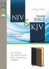 NIV and KJV Side-by-Side Bible, Large Print, Italian Duo-Tone, Navy/Tan