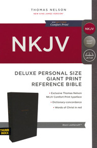 NKJV, Deluxe Reference Bible, Personal Size Giant Print, Leathersoft, Black, Thumb Indexed, Red Letter Edition, Comfort Print: Holy Bible, New King James Version