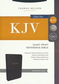 KJV, Reference Bible, Center-Column Giant Print, Bonded Leather, Black, Thumb Indexed, Red Letter, Comfort Print: Holy Bible, King James Version