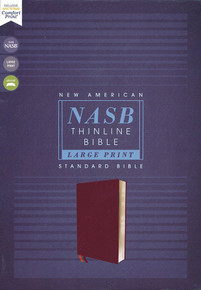 NASB Large-Print Thinline Bible, Red Letter Edition--bonded leather, burgundy