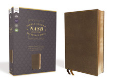 NASB Comfort Print Single-Column Reference Bible--soft leather-look, brown