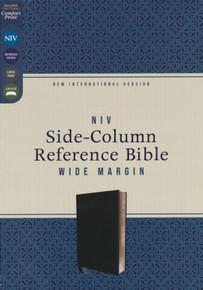 NIV, Side-Column Reference Bible, Wide Margin, Leathersoft, Black, Comfort Print