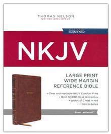 NKJV, Reference Bible, Wide Margin Large Print, Leathersoft, Brown, Red Letter, Comfort Print: Holy Bible, New King James Version