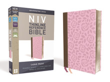 NIV, Thinline Reference Bible, Large Print, Leathersoft, Pink/Brown, Red Letter, Comfort Print