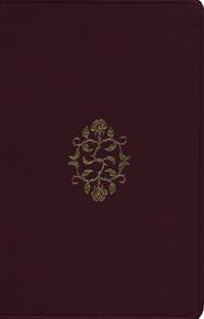 ESV, Personal Size Bible, Large Print, Burgundy Rose of Sharon Design, Bonded Leather