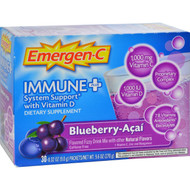 Alacer Emergen-C Immune Plus System Support with Vitamin D Blueberry Acai - 30 Packets