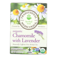 Traditional Medicinals Organic Chamomile With Lavender Herbal Tea - Caffeine Free - Case Of 6 - 16 Bags