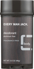 Every Man Jack Body Deodorant - Fragrance Free - 3 Oz