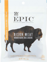 Epic Jerky Bites - Bison Bacon Chia - Case Of 8 - 2.5 Oz.