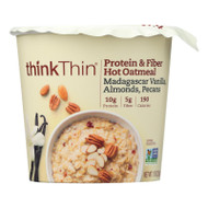Think! Thin Protein & Fiber Hot Oatmeal -vanilla - Almonds - Pecan - Case Of 6 - 1.76 Oz
