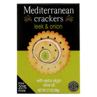 Natural Nectar Mediterranean Crackers - Leek Onion - Case Of 12 - 3.7 Oz.