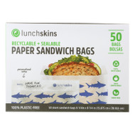 Lunchskins - Recyclable And Sealable Paper Sandwich Bags - Shark - Case Of 12 - 50 Count