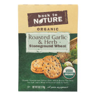Back To Nature Crackers - Roasted Garlic And Herb Stoneground Wheat - Case Of 6 - 6 Oz.