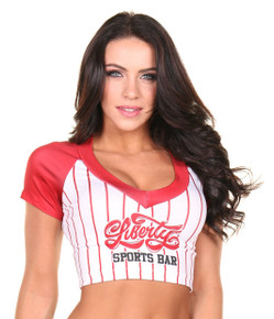 Baseball Sporty Jersey Top Crop- Logo