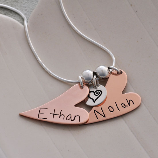 Handwriting Copper Hearts