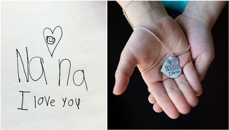 Handwritten note on jewelry