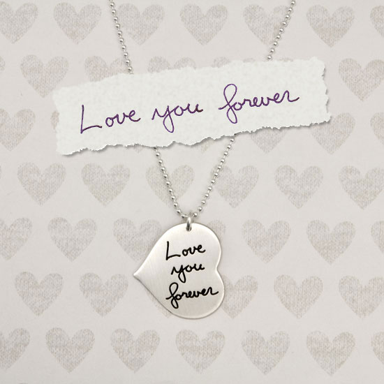 Custom Heart Handwriting Necklace