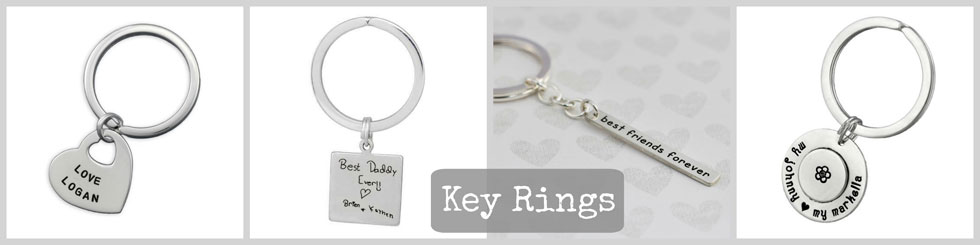 Hand Stamped Personalized Keychains and Key Rings- Hand