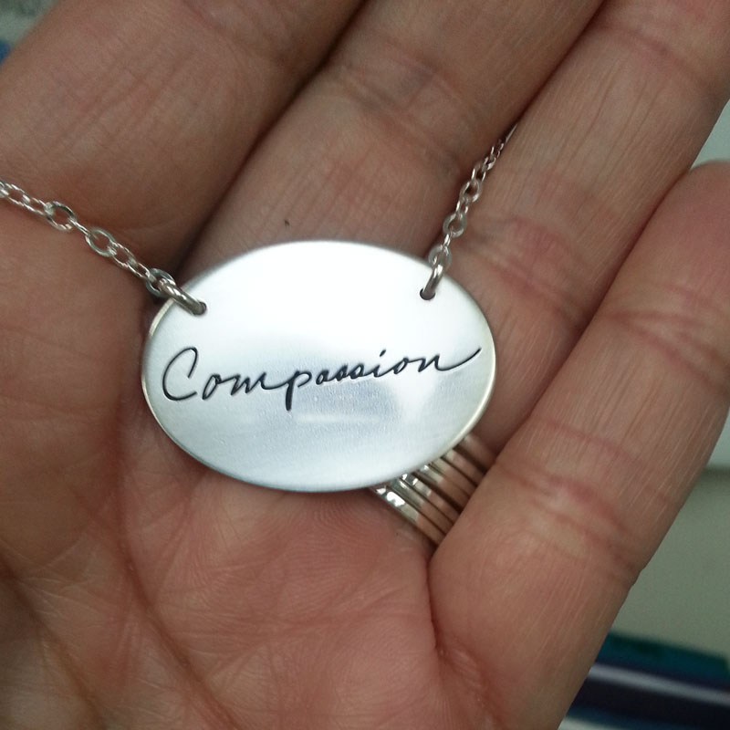 Large Oval Handwriting Necklace