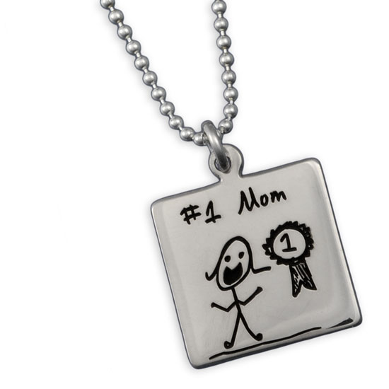Square Handwriting Charm Necklace