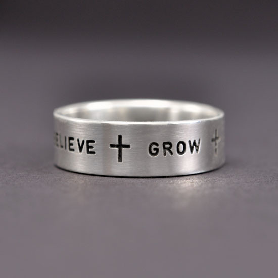 Inspirational Hand Stamped Sterling Silver Ring