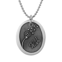 Silver Wish Dandelion Necklace, with the word Wish and picture of a dandelion blowing away, shown close up, on white background